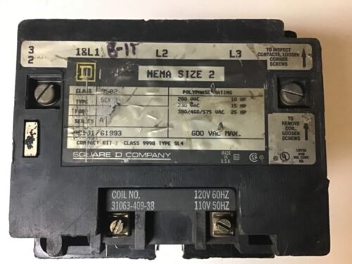 Square D 8502 SDO2 Size 2 Contactor With 120 Volt Coil
