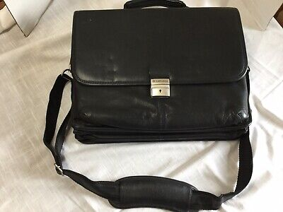 Samsonite Black  leather flap-over laptop  Locking Briefcase W. Key  16X12X5""