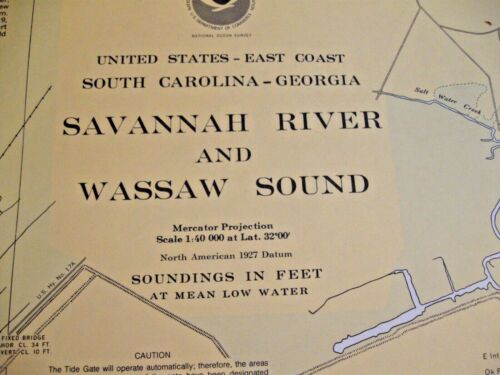 NAUTICAL NAVIGATIONAL CHART # 11512 - SAVANNAH RIVER * WASSAW SOUND -  SC & GA