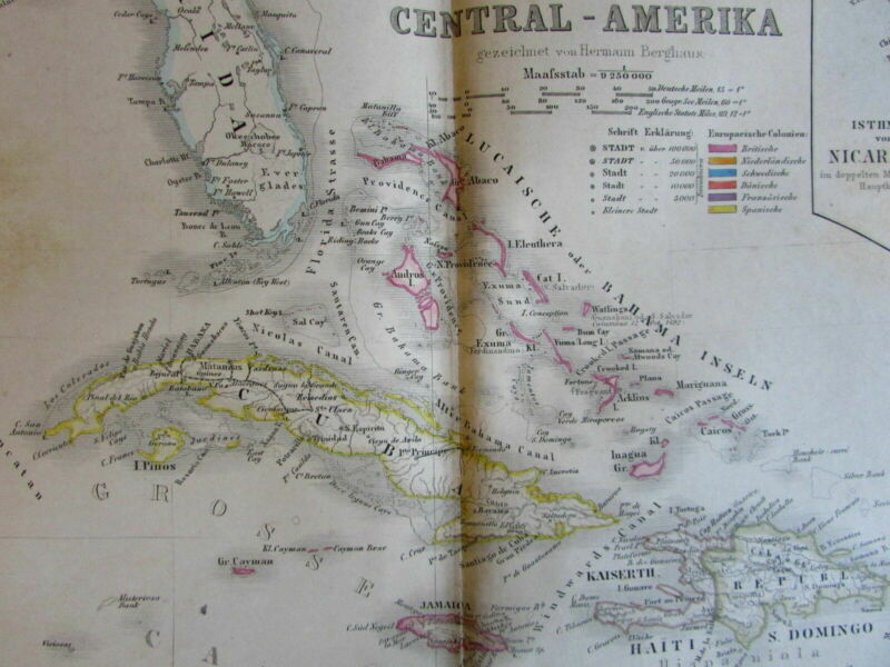 West Indies Caribbean Mt. elevations Panama 1859 Berghaus Stieler scarce old map