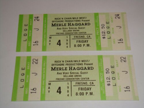 THE MERLE HAGGARD SHOW 2 UNUSED 1984 CONCERT TICKETS FRESNO CALIFORNIA USA green