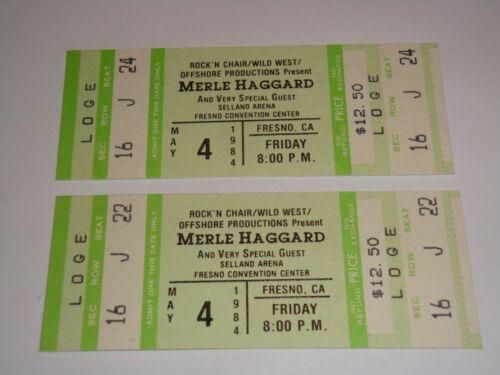 THE MERLE HAGGARD SHOW 2 UNUSED 1984 CONCERT TICKETS FRESNO CALIFORNIA USA green