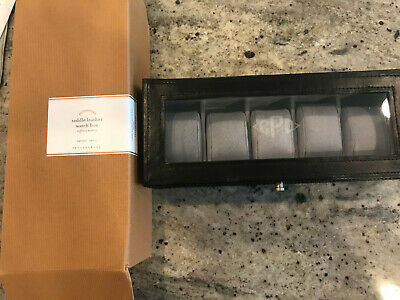 Pottery Barn Saddle Leather Watch Box Espresso NEW Monogram CPD  (Monogram Leather Watch Box)