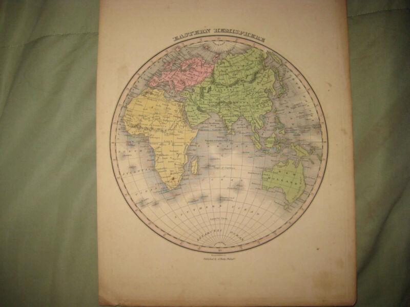 ANTIQUE 1824 EASTERN HEMISPHERE WORLD FINLEY HANDCOLOR MAP AUSTRALIA ASIA CHINA