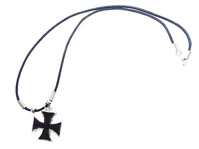 New MALTESE CROSS IRON CROSS  BLACK INLAY PEWTER PENDANT CORD NECKLACE ()