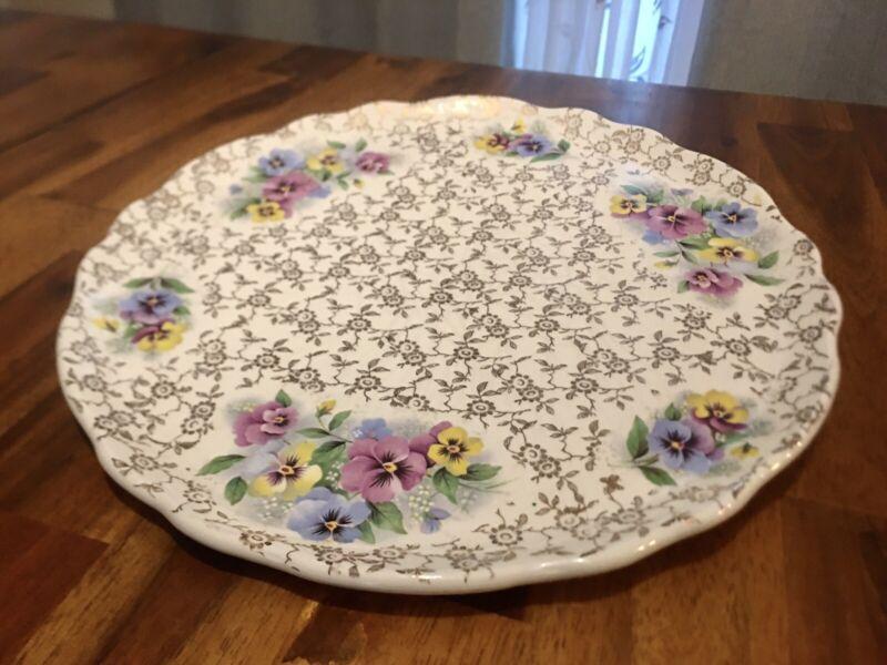 """Vintage Old Foley James Kent England Floral 10"""" Plate Pottery Dish"""