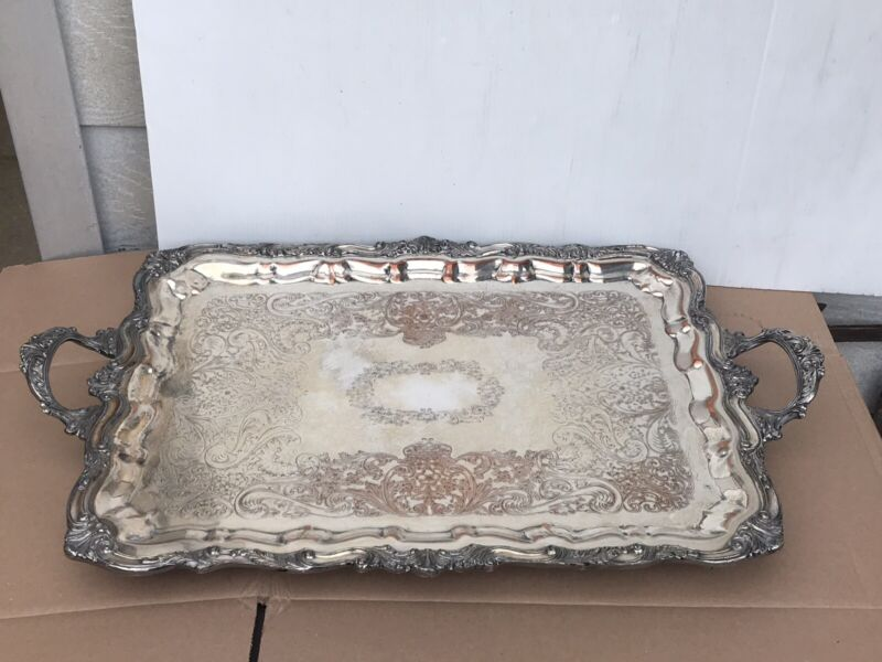 Vintage Sheridan Silver Co. X-Large Silver on Copper Footed Butler/Serving Tray