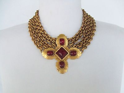 CHANEL VINTAGE RUBY RED GRIPOIX GOLD BYZANTINE DRESS CHOKER NECKLACE SHOWPIECE