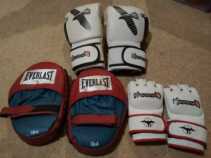 Boxing and mma gloves and focus pad