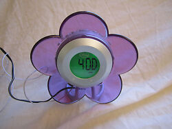 *DISNEY FAIRIES*Girl's Child's Alarm Clock*with AM/FM Radio*PURPLE FLOWER