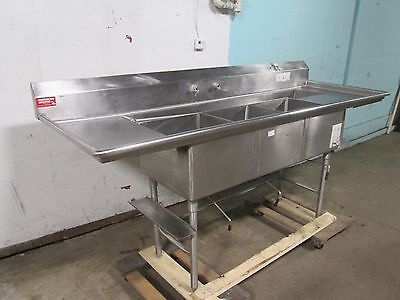 American Delphi Commercial Hd 3 Compartment Trimdisposer Sink Wrefuse Gutter