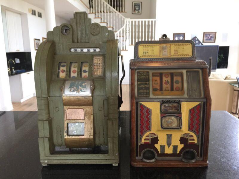 Vintage antique slot machine machinesMills Extraordinary & Caille silent Sphinx