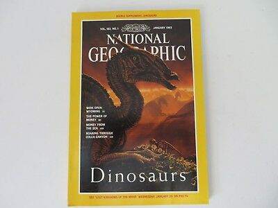 National Geographic January 1993 Issue Dinosaurs With Poster Insert     8080