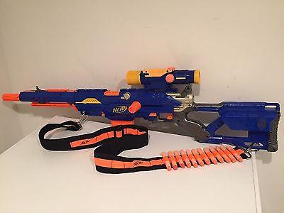 Nerf N-Strike Long Strike CS-6 Sniper Rifle Gun Scope Clip Bandolier Darts Nice!