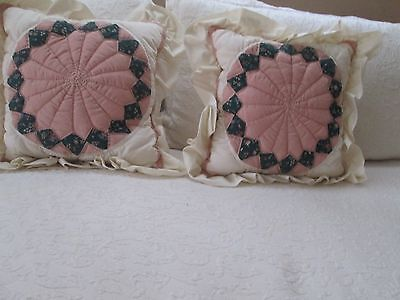 Cream, Dusty Pink, and Hunter Green Patchwork Ruffled Decorative Pillows--2 ()
