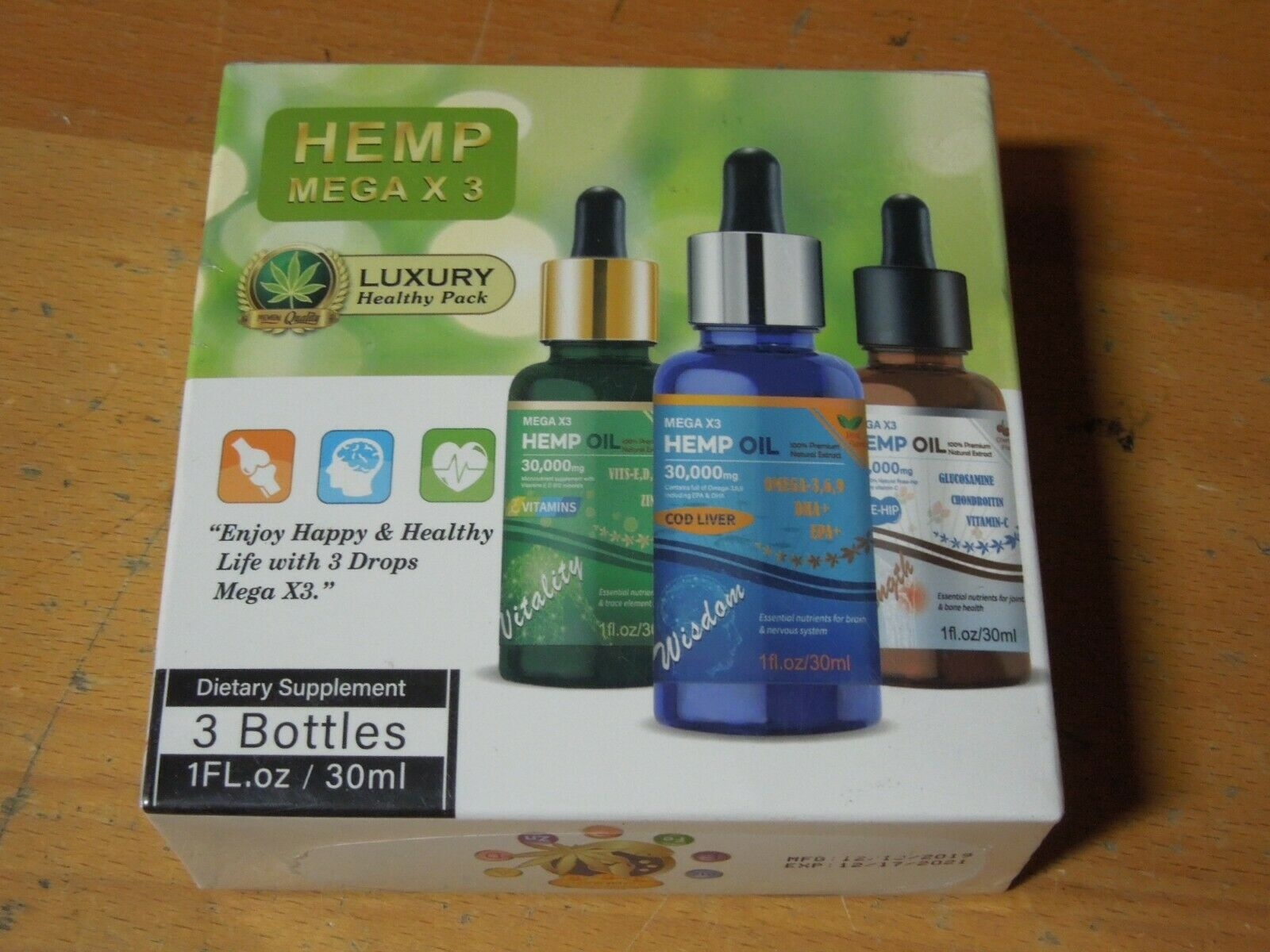3 Bottles Hemp Mega X 3  Oil 30000mg Anxiety and Mood Support Dietary Supplement