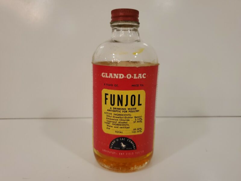 Gland-O-Lac Funjol  Drinking Water Antiseptic  for Poultry Bottle Advertisement