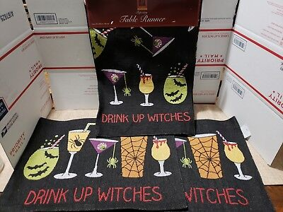 Windham Halloween Drink Up Witches Tapestry Placemats Set Of 4 + 13