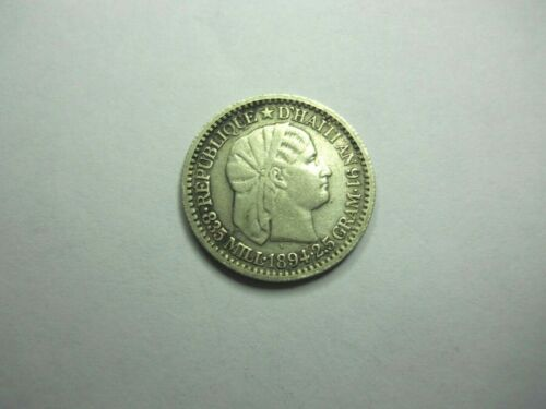 1894 Haiti 10 Centimes silver Km 44  ~ 123 years old AS SHOWN