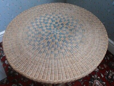 Vintage French Wicker and Bamboo side table
