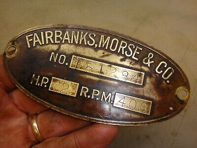 Original Name Tag Fairbanks Morse 2hp H Hit And Miss Old Gas Engine Fm