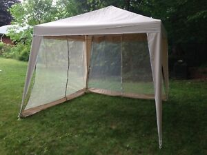 Screened tent gazebo with 4 panels (3 screen, 1 solid panel)