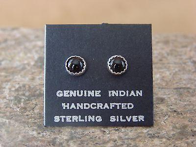 Native American Sterling Silver Onyx Dot Post Earrings! Navajo Indian