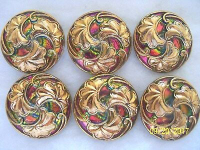 "REDUCED  CZECH GLASS BUTTONS (6 pcs) GORGEOUS /24k GOLD 1 "" (27mm)    L 011"