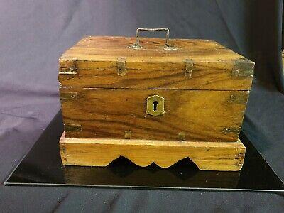 Antique Oak & brass Primitive Tea Caddy/ tobacco Storage Box