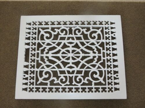 "Antique Large Cast Iron Floor Grate Ornate Vent Register Grate Vtg 22"" X 18"""
