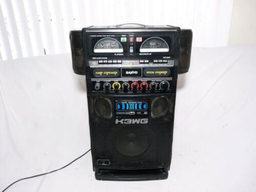 Vintage Sanyo Pat-K3WG Dual Cassette 9 Program  Karaoke Machine Black Tested