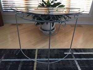 Table demi lune en verre
