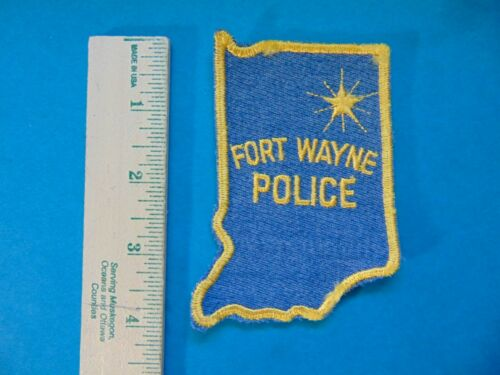 FORT WAYNE INDIANA POLICE PATCH STATE SHAPE VINTAGE OLD MESH STAR
