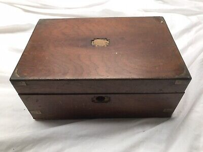 Vintage Writing Slope Box, Wooden With Brass Inlay
