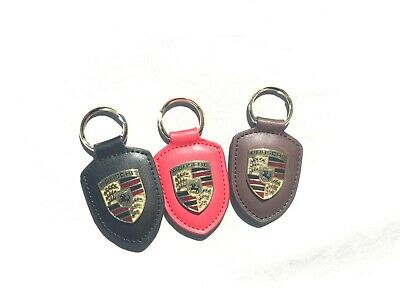 Porsche Crest Keyring Key Chain Leather BROWN,BLACK & RED