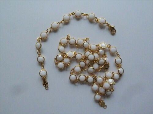 Vintage Bezel Set White Color Crystal Necklace & Bracelet Signed