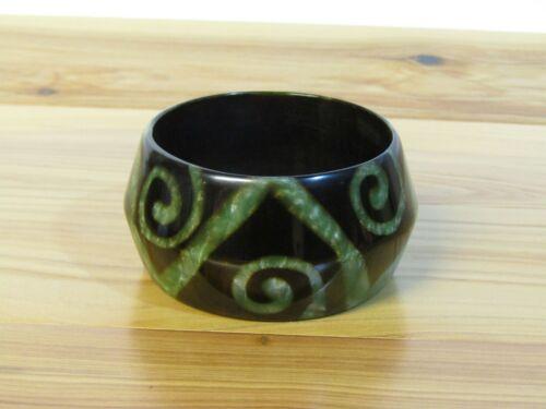 Acrylic Geometric Green and Brown Pearlized Swirls Bangle Bracelet