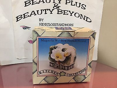 Porcelain Magnolia With Bow Napkin Holder >> Kitchen Collections << New in Box