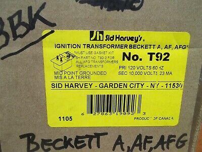 New Sid Harveys Ignition Transformer Beckett Aafafg No.t92 New In Box