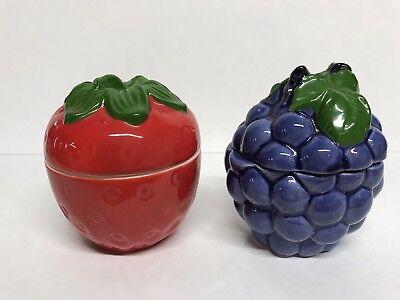 Grape Jam Jelly (Vintage Condiment Jam Jelly Jars Strawberry & Grape Made In Japan )