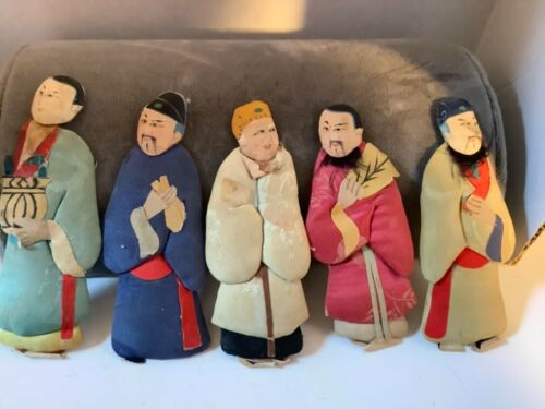 """Vintage set of five Chinese material and paper dolls 4.5"""" H"""