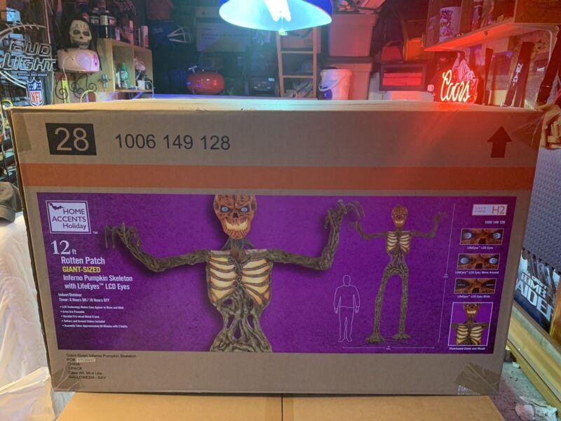 12 Foot Giant Inferno Pumpkin Skeleton Brand New 12' 12ft LifeEyes LCD EYES