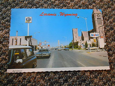 Old Vintage Laramie Wyoming Postcard Third Street Photo Mobil Conoco Dunn's Cars