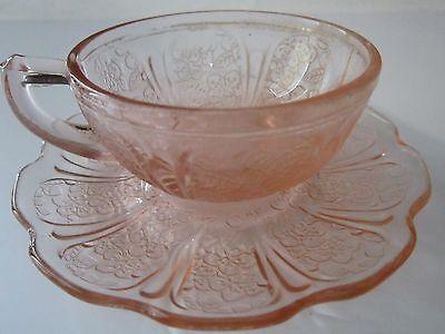 Jeannette Cherry Blossom Pink Depression Glass Teacup And Saucer Vintage