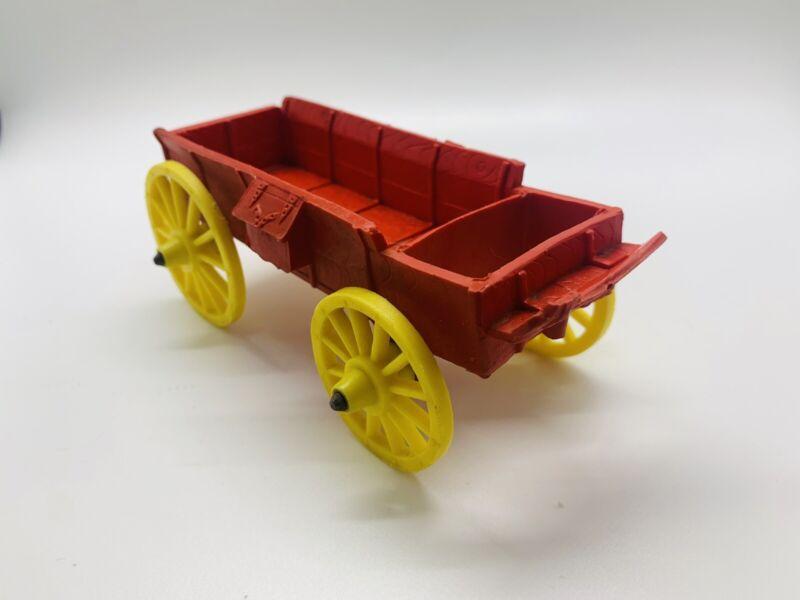 Vintage Auburn USA Rubber Toy Western Buck Board Wagon Red Yellow Wheels