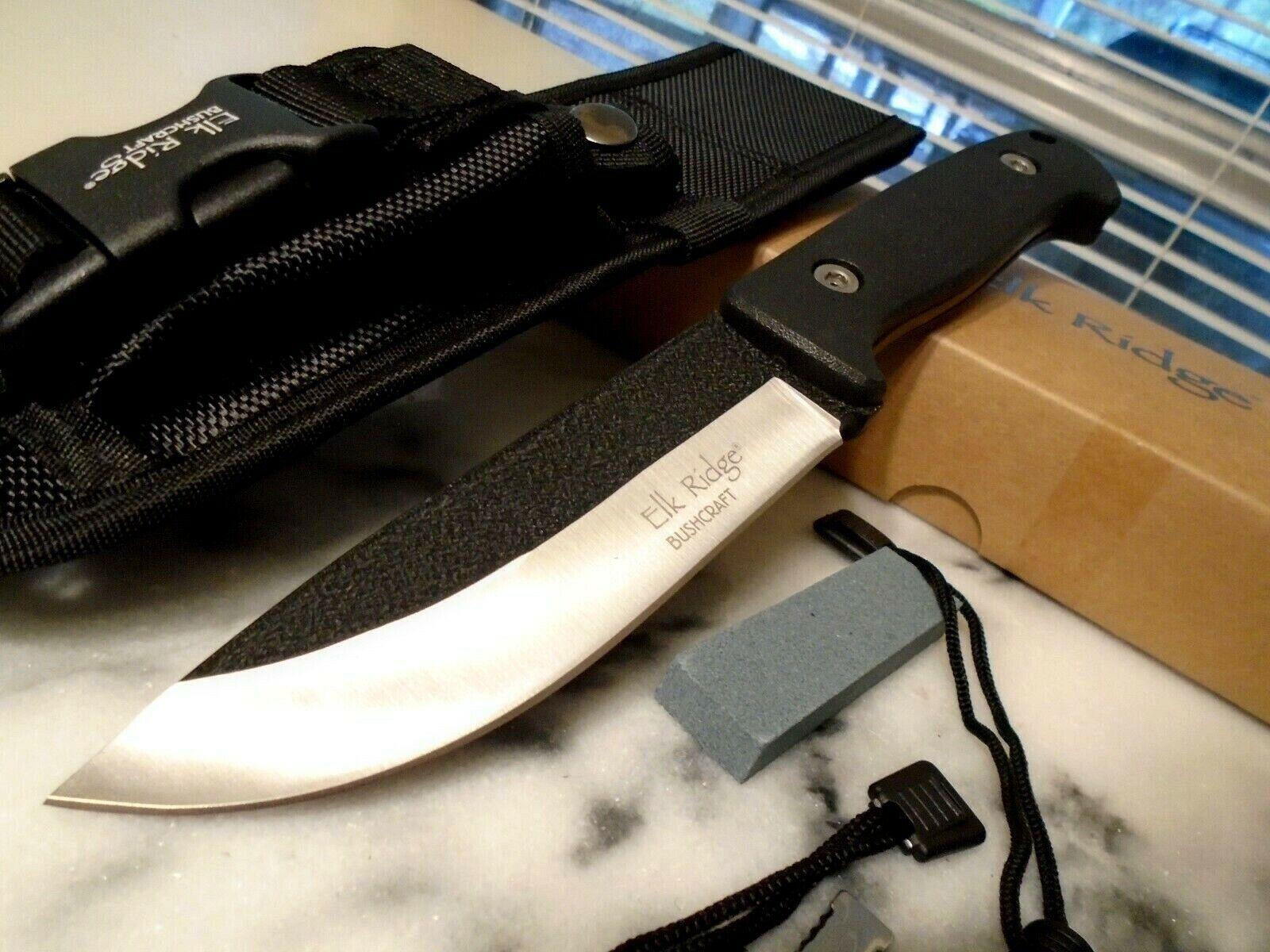 Elk Ridge Bushcraft Black Hunter Bowie Knife 5mm Full Tang F