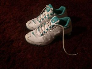 Baby blue and white nike shocks