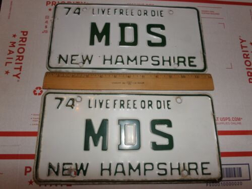 1974 NEW HAMPSHIRE LIVE FREE OF DIE M D S MDS LICENSE PLATES PAIR