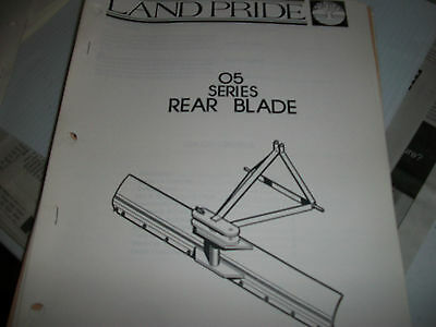 Land Pride Owners Parts Manual 05 Series Rear Blade