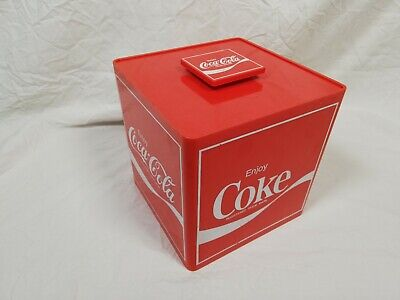 Preowned Vintage Coke Coca Cola Square Red Ice Bucket With Inner Bowl & Lid